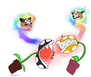 Sibling Rivalry of Plant-Possessing Corgis by Rexart35