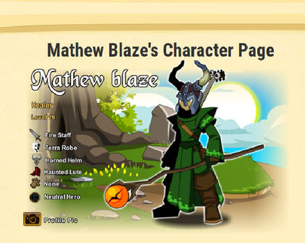 Mathew Blaze Character sheet