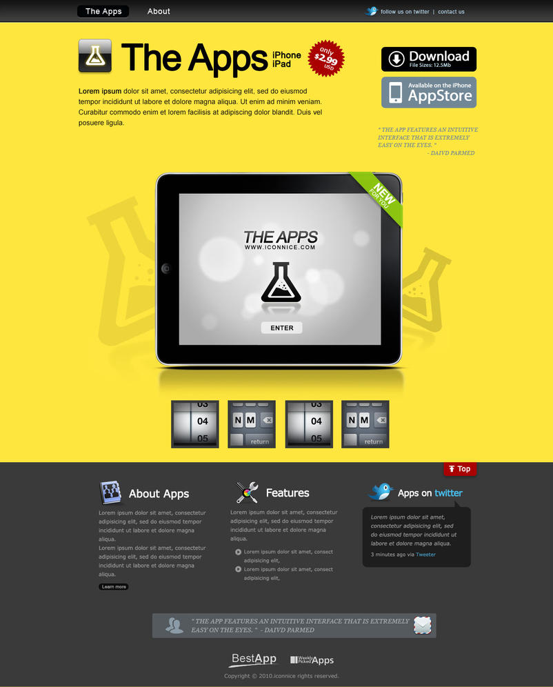 Yellow iPad apps web template by iconnice on DeviantArt