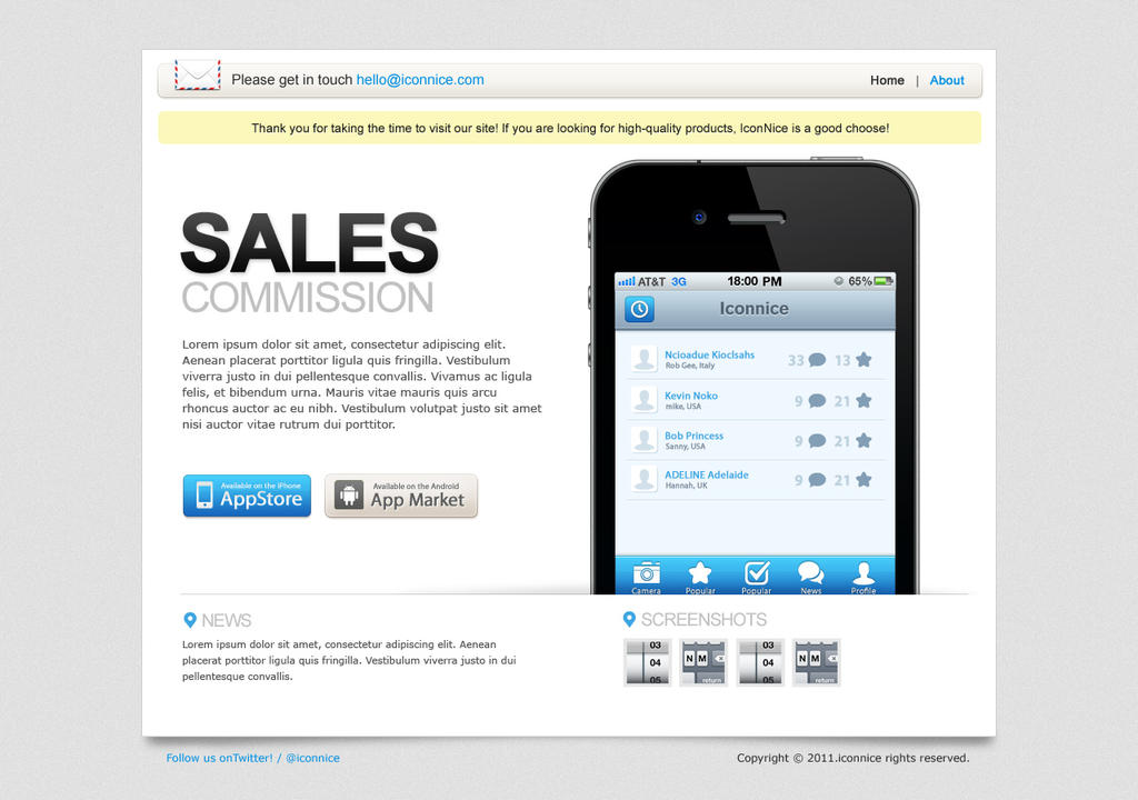Sales Commission iPhone iPad web template by iconnice on DeviantArt
