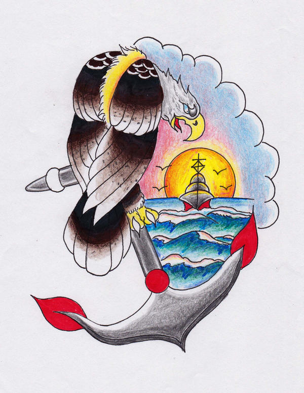 Old School Eagle and Anchor Tattoo Design! by Halasaar01