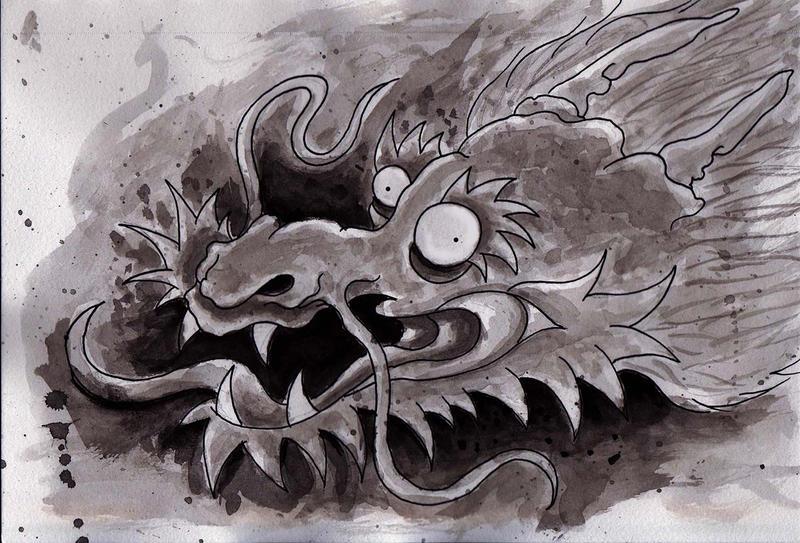 Traditional Dragon in Sumi Ink!!! by Halasaar01