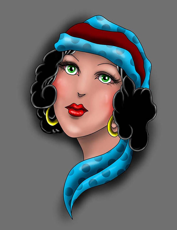 Gypsy Girl Tattoo Design! by Halasaar01