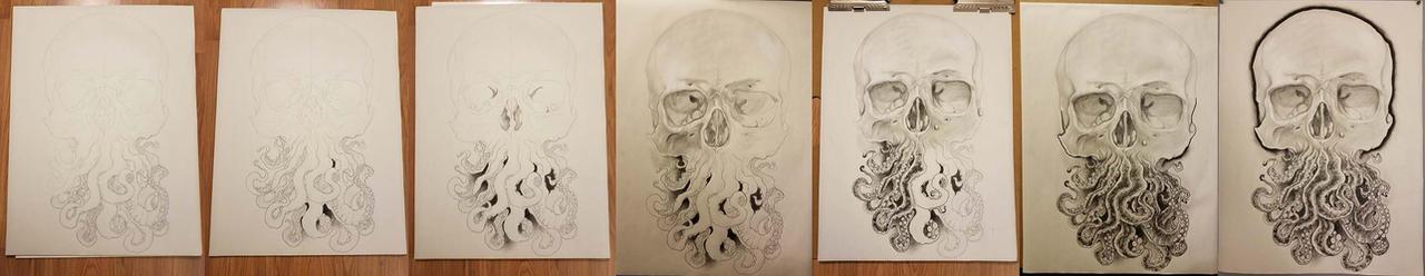 Progress of the Octoskull on Toned Paper!!! by Halasaar01