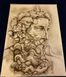Traditional Drawing Michelangelo's Poseidon! by Halasaar01