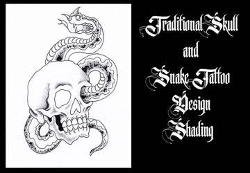 Traditional Drawing Skull and Snake!! Shading Vid! by Halasaar01