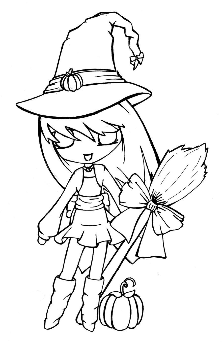 Lil Witch--Lineart by SaltiiDog