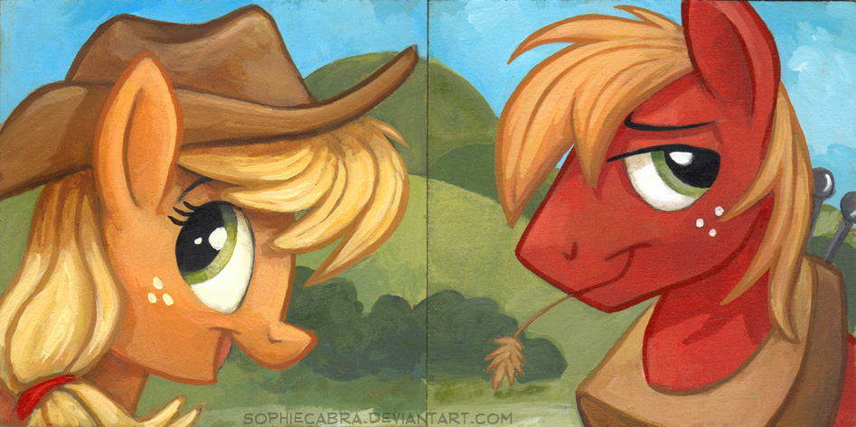 Square Series - Applejack and Big Mac by sophiecabra
