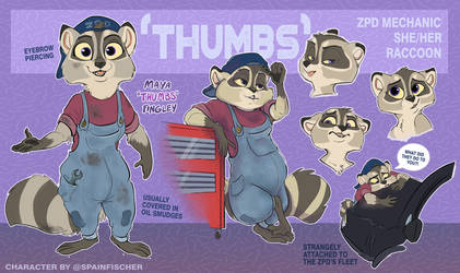 Zootopia OC - Thumbs the Raccoon