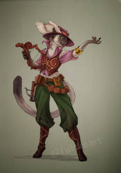 Comission- Tabaxi Bard by NatteRavnen