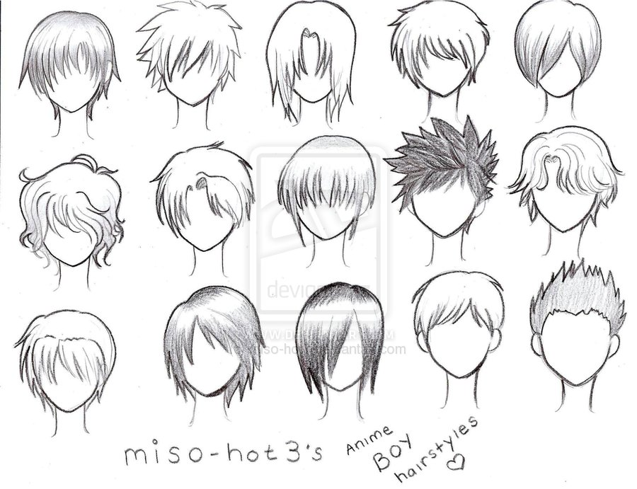ANIME BOY HAIRSTYLES    by pmtrixHow To Draw Male Anime Hair