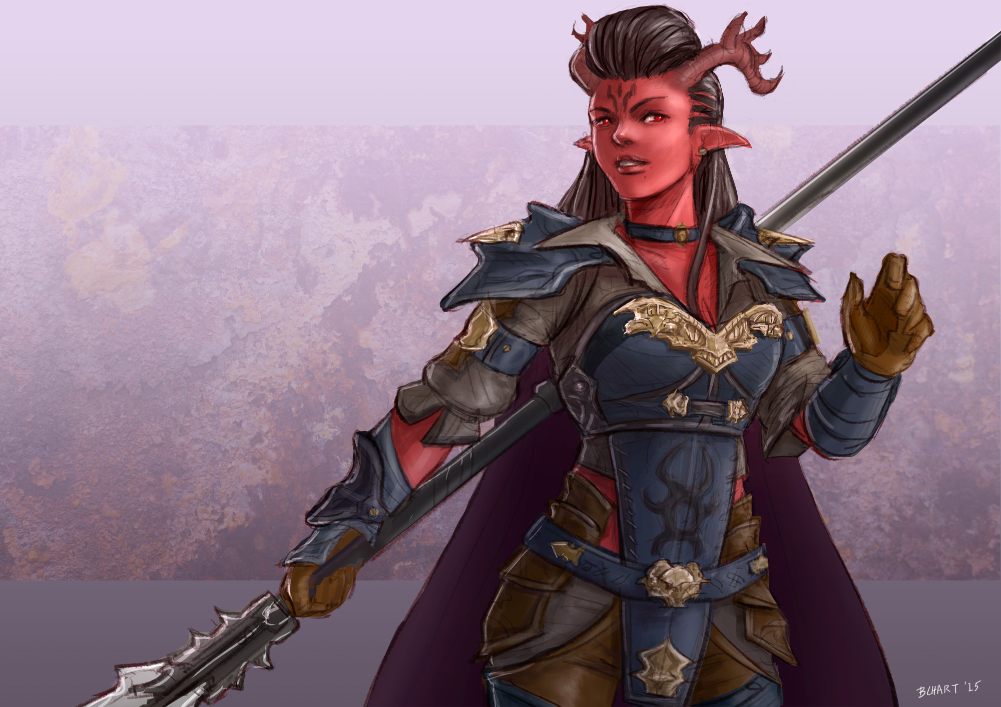 Female Tiefling Fighter by bchart