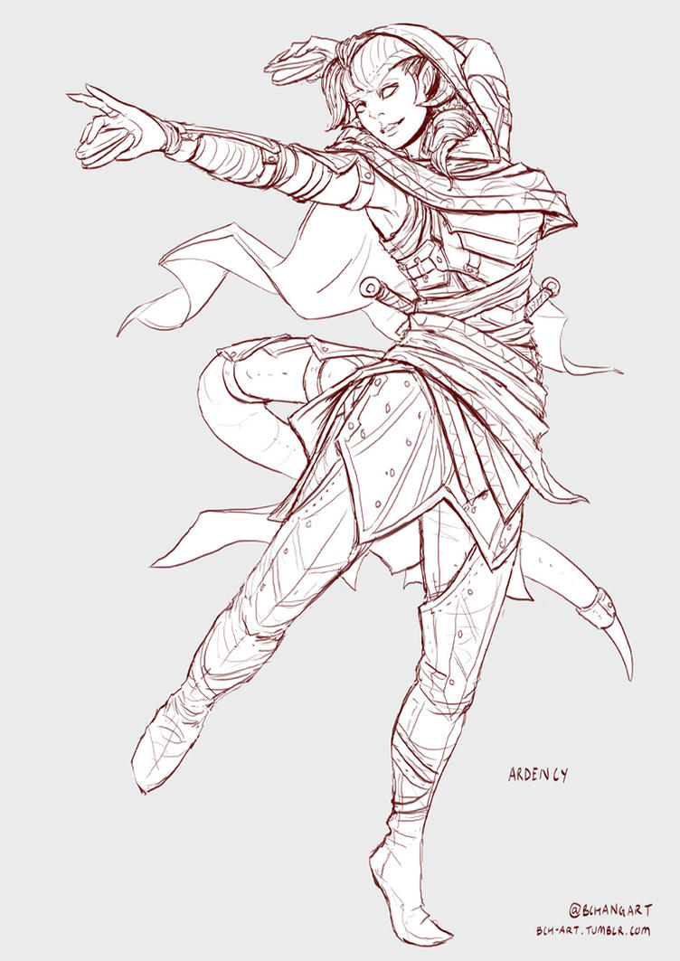 Line And Art : Ardency tiefling bard dancer line art by bchart on