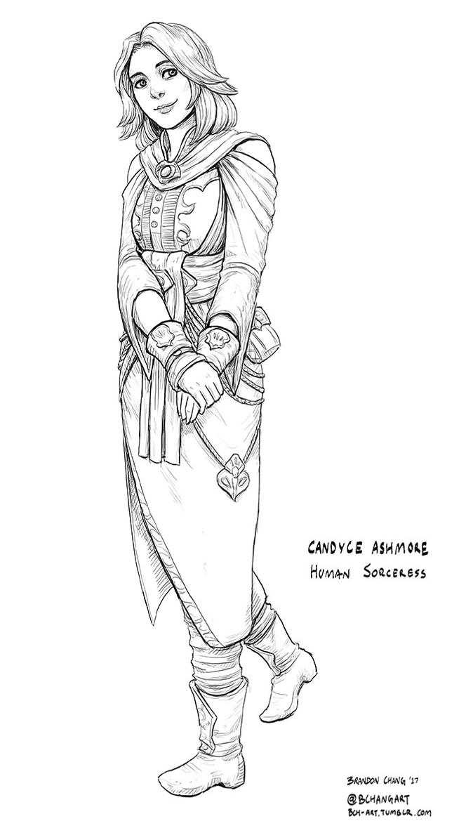 C: Candyce Ashmore, Sorceress Line Art by bchart