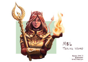 C: Mel, Tiefling Evocation Wizard by bchart