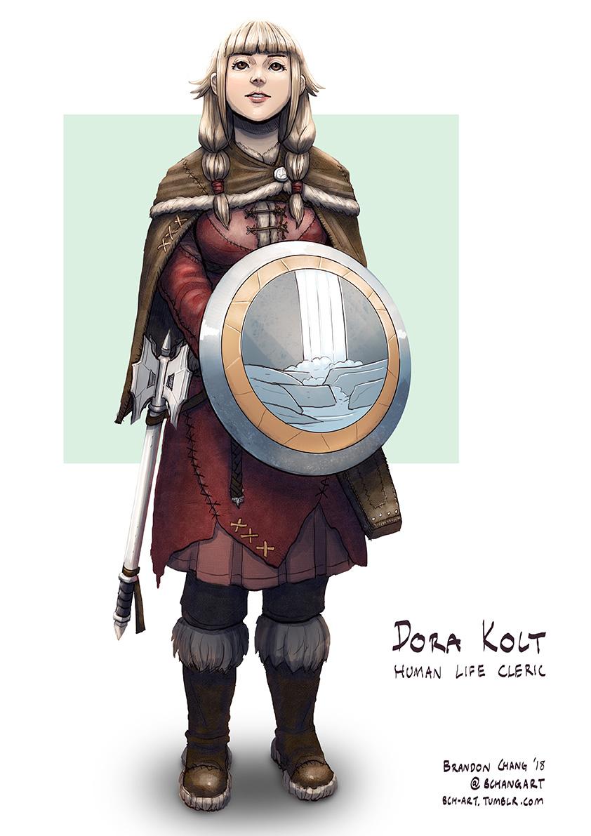C: Dora Kolt, Human Life Cleric of Eldath