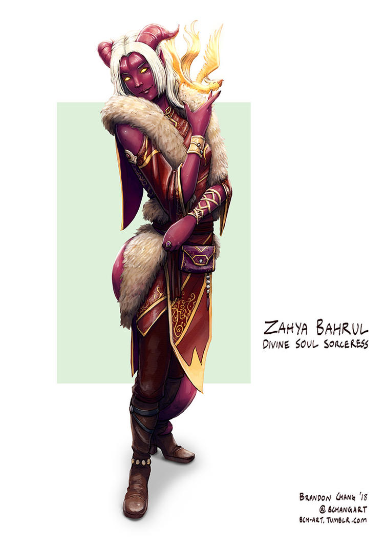 C: Zahya Bahrul, Tiefling Divine Soul Sorceress by bchart