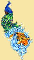 peacock and koi design by theblackdragon