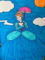 Cinderella Parasailing with a Parasol
