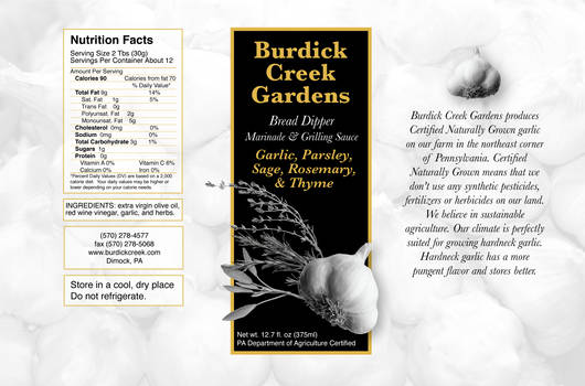 Burdick Creek Oil Lable 1