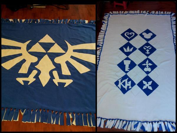 Kingdom Hearts + Legend of Zelda Fleece Blanket by Katrix