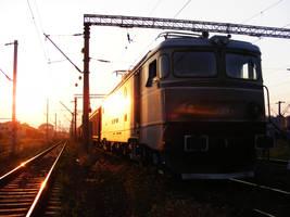 Train At Sunset by Sadguardian
