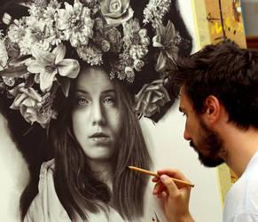 work in progress of new drawing LIBERTAS by EmanueleDascanio