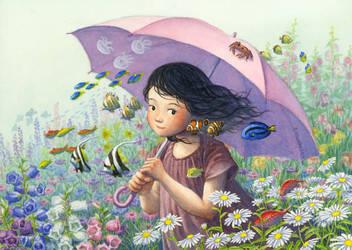 The sea under the umbrella