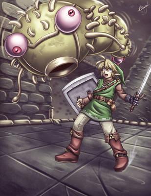 Zelda - Link and Moldorm fight by Karosu-Maker