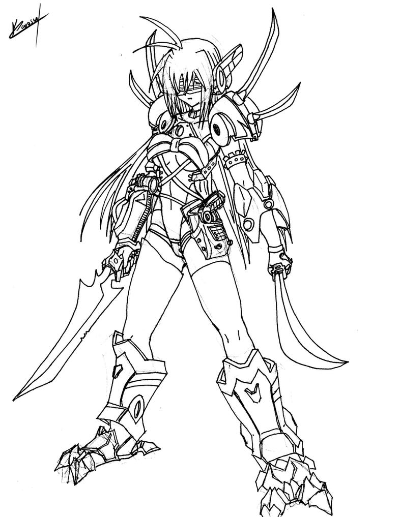 Line Drawing Maker : Old draws cyborg blade by karosu maker on deviantart