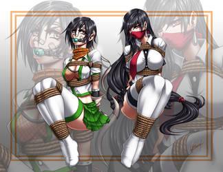 Jenova Highschool: Yuffie and Tifa tied by Karosu-Maker
