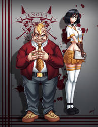 Don Corneo and Garnet Jenova Highschool by Karosu-Maker