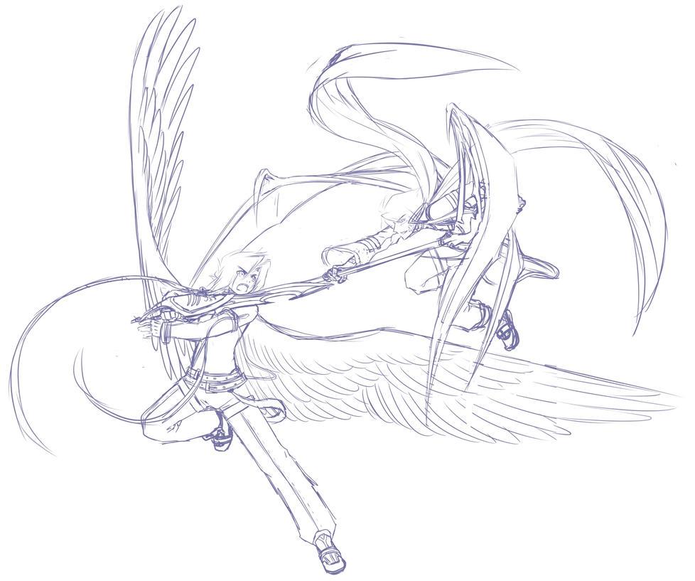 Sketch: Fight by Dea-89 on DeviantArt
