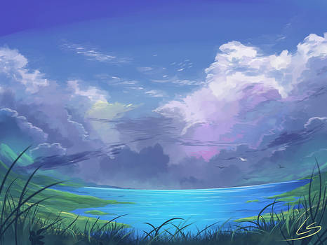 Practice piece: Cloudy lake
