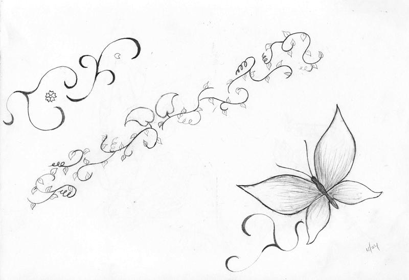 butterfly and vine tattoo by mohee311 on deviantart. Black Bedroom Furniture Sets. Home Design Ideas