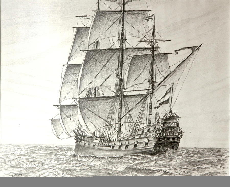 17th century Dutch Frigate,pen by John-Tansey