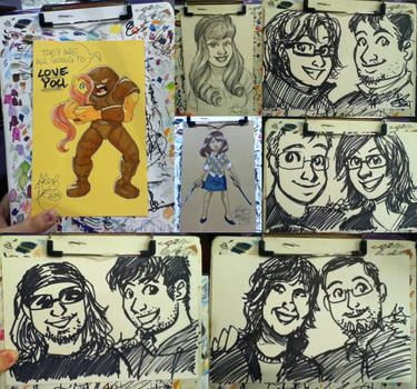 Sketch card commissions from Acen and WisCon 2014