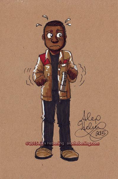 Finn (The Force Awakens) Sketch Card by alex-heberling