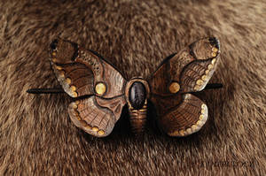 MOTH BUTTERFLY - leather hair barrette - for sale by SilverclockCostumes