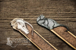 WHITE HORSE and BLACK CAT bookmarks - FOR SALE by SilverclockCostumes