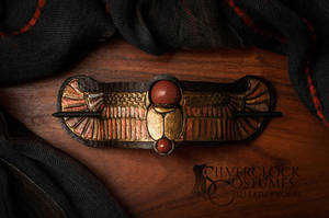 EGYPTIAN SCARAB hair barrette of leather FOR SALE by SilverclockCostumes