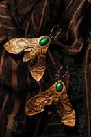 HAWK MOTH EARRINGS leatherart - for sale by SilverclockCostumes