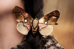 LEATHER BUTTERFLY MOTH hair clip - for sale by SilverclockCostumes