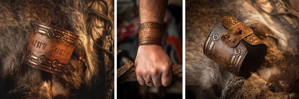 Runic Cuff Bracelet - leatherwork - for sell by SilverclockCostumes
