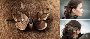 Brahmin Moth Barrette - leatherwork - for order