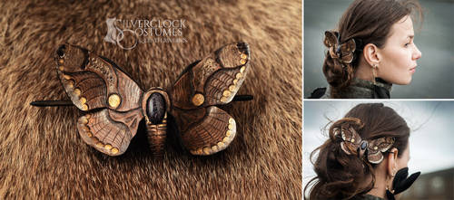 Brahmin Moth Barrette - leatherwork - for order