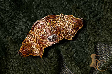 Bears Heads Leather Barrette Clasp FOR ORDER by SilverclockCostumes