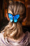 BLUE MORPHO BUTTERFLY - leather hairpin for sale