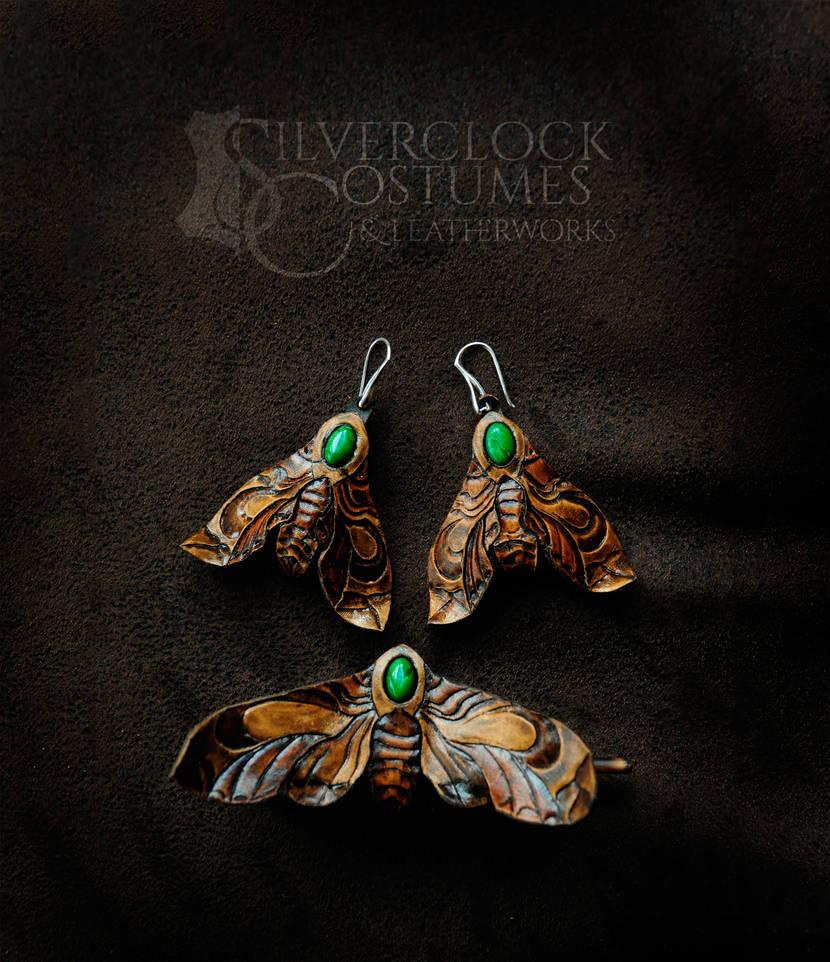 HAWK MOTH JEWELRY SET in malachite and leather by SilverclockCostumes