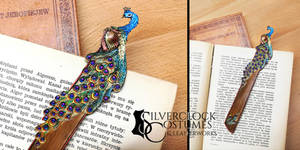 PEACOCK BOOKMARK romantic - leatherwork for sale